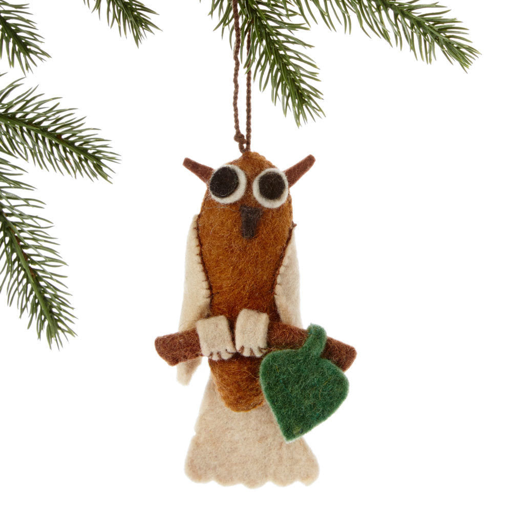 Owl Felt Holiday Ornament - Silk Road Bazaar (O)