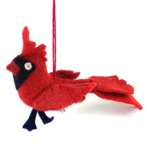 Cardinal Felt Holiday Ornament - Silk Road Bazaar (O)