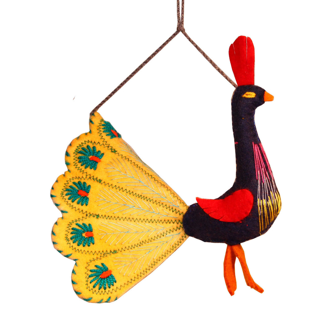 Yellow Peacock Felt Holiday Ornament - Silk Road Bazaar (O)
