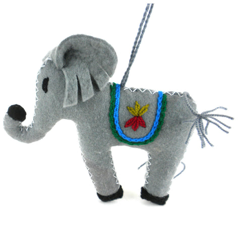 Elephant Felt Holiday Ornament - Silk Road Bazaar (O)