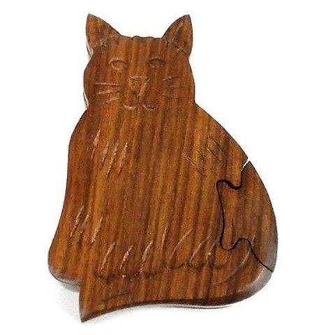 Handcrafted Sheesham Wood Cat Puzzle Box Handmade and Fair Trade
