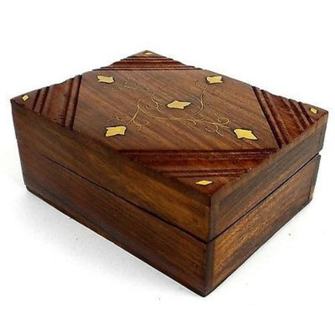 Handcrafted Sheesham Wood and Inlaid Brass Box Handmade and Fair Trade