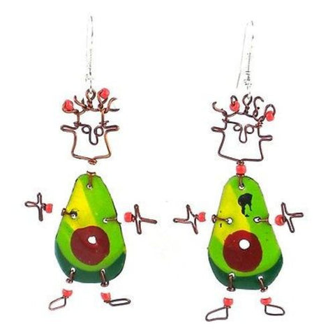 Dancing Girl Avocado Earrings Handmade and Fair Trade