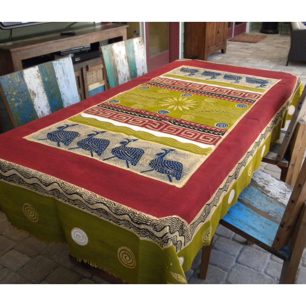 Merveilleux Hand Painted Table Cloth 92 Inches By 56 Inches   Tonga Textiles