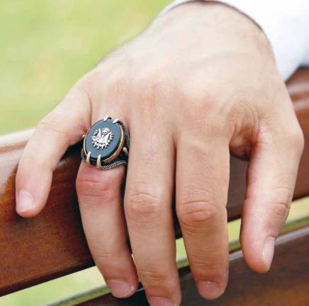 man wearing black zircon royal men's ring dubai