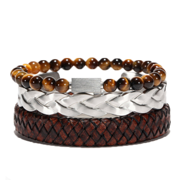 Mensdoor men's bracelets leather beads tiger-eye stone