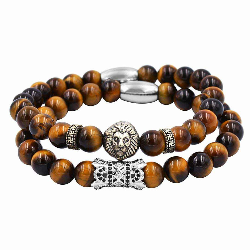 Lion bracelet with Tiger Eye Stone (model# BRC100-MD)