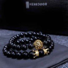 Royal Lion bracelet with natural black stone (model# BRC101-MD)
