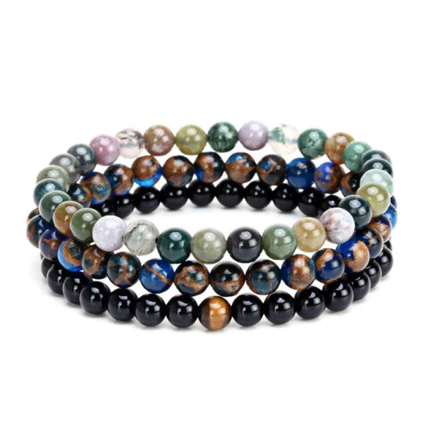 mensdoor natural agate three-beaded men's bracelet beads