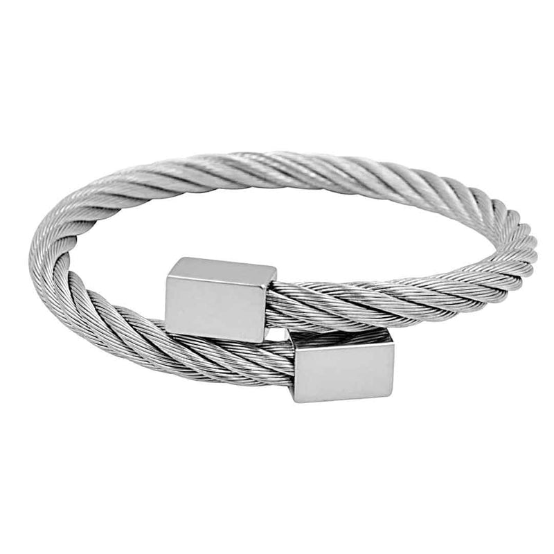 Mensdoor stainless steel bangle men's bracelet silver