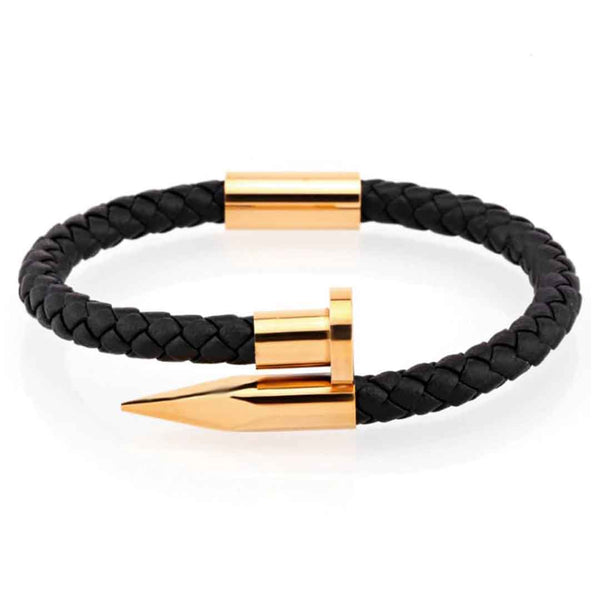 Mensdoor golden nail bracelet mens