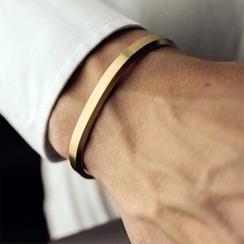 Mensdoor narrow cuff men's bracelet gold