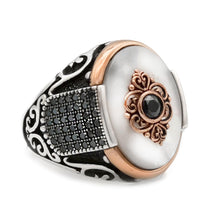 "Royal ring "" Original pearl with black zircon"" (model# R304)"