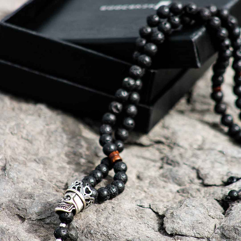 LAVA BEAD NECKLACE WITH SKULL PENDANT
