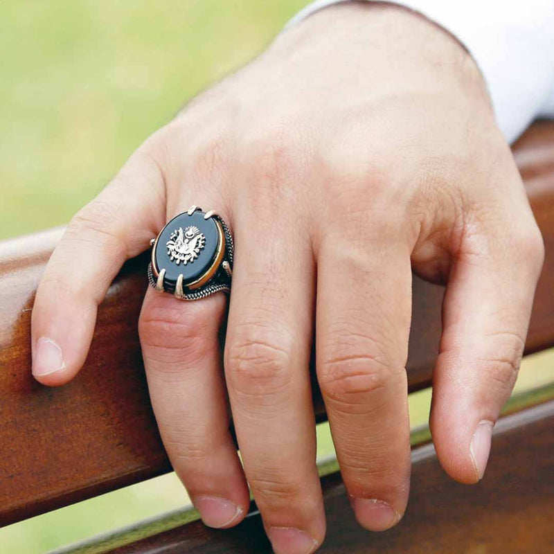 "Royal ring ""Original black onyx stone"" (model# R302)"