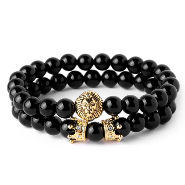 Mensdoor black stone lion men's bracelet brands