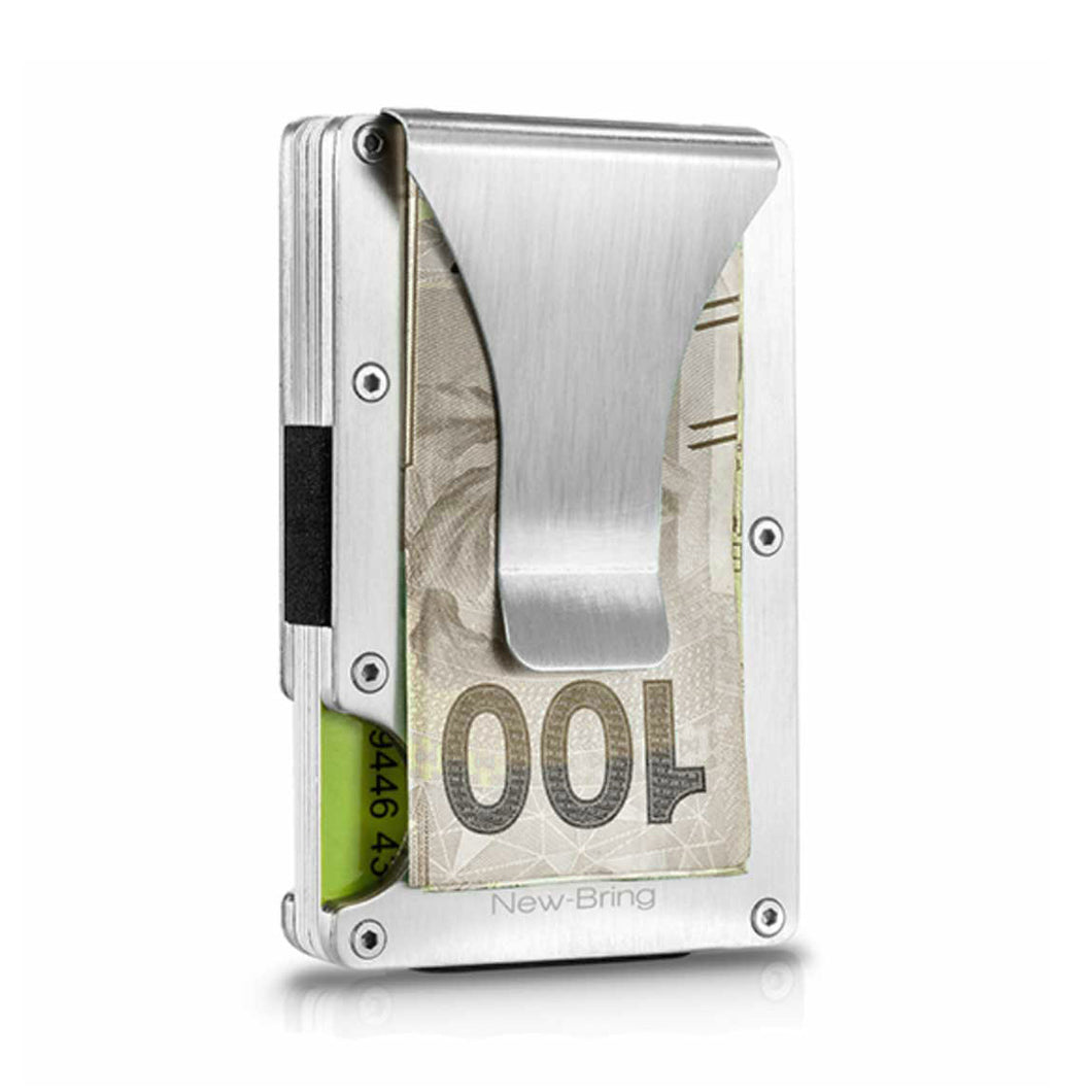 Modern credit cards & money holder with RFID protection (Silver color)