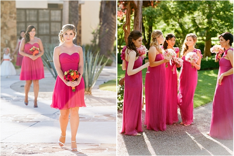 image of bridesmaids wearing bright pink bridesmaid dresses