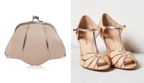 lily houston design image of mia rose gold bag and mimosa rose gold shoe