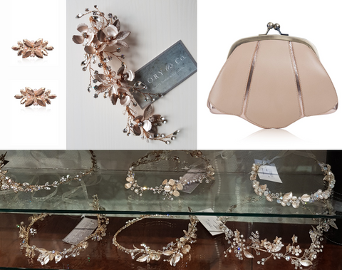 lily houston design image of rose gold bridal accessories shoe clips hair clip clutch bag and hair vines