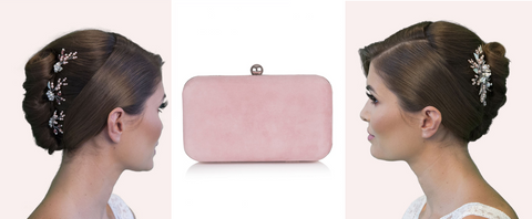 image of pink hair accessories and clutch bag lily houston design