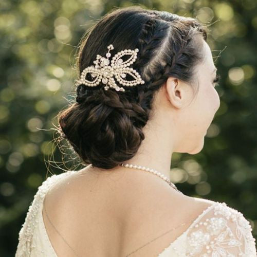 Mae vintage style pearl bridal hair comb