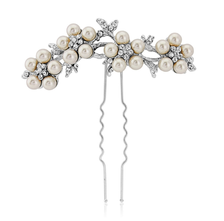 Adaira pearl and crystal daisy hair pin
