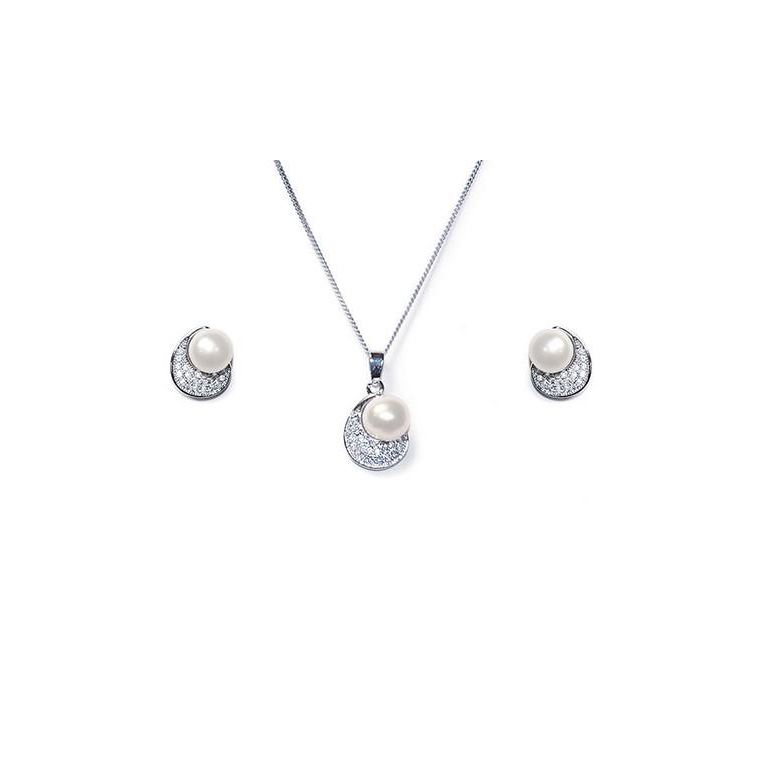 Atlanta pearl necklace and earring set