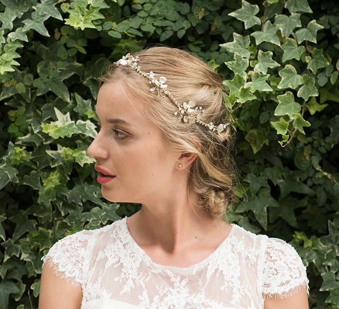 Autumn Sky gold bridal hair vine model 1