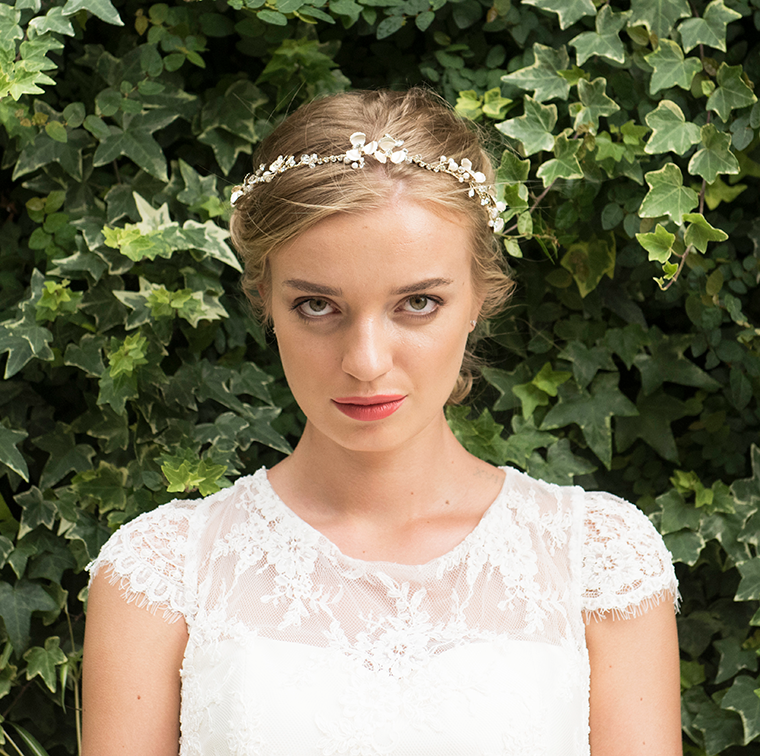 Autumn Sky gold bridal hair vine model 2