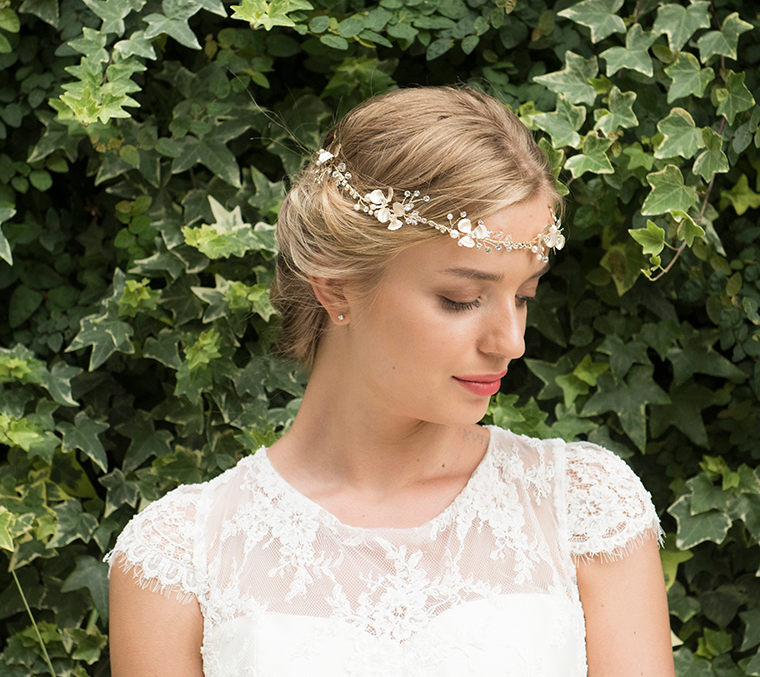 Autumn Sky gold bridal hair vine model 4