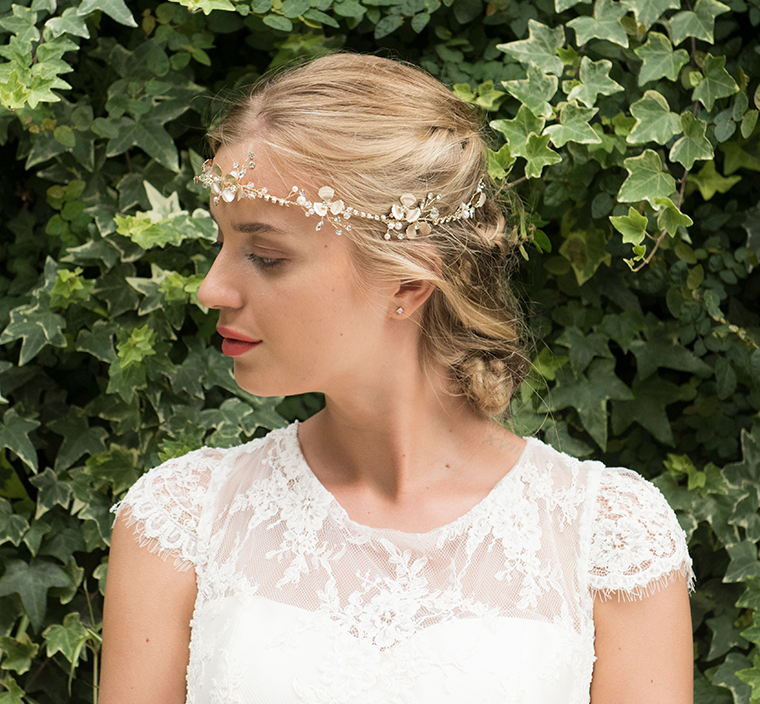 Autumn Sky gold bridal hair vine model 3