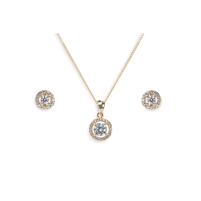 Balmoral gold necklace and earring set
