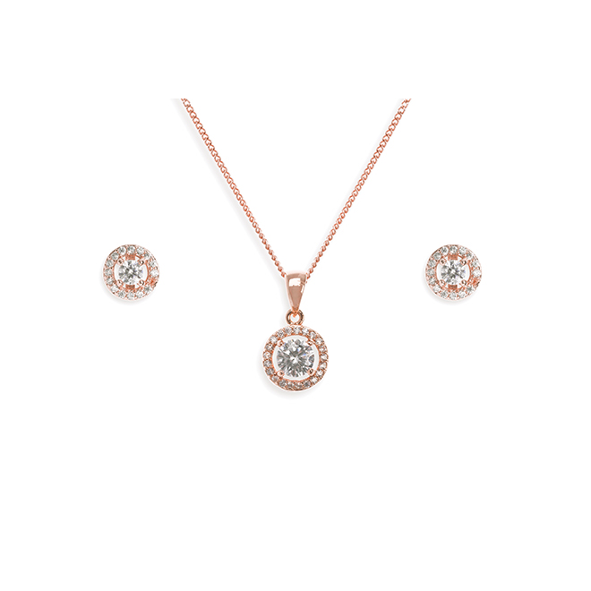 Balmoral rose gold necklace and earring set