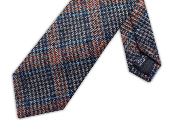 Wool necktie - Prince of Wales Blue/Orange/Grey check
