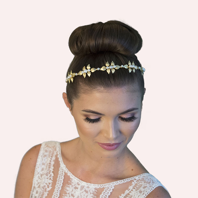 Brockhurst gold wedding headband model image