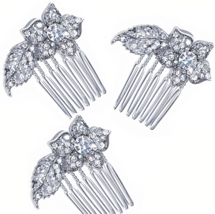 Cassie Crystal Flower Hair Comb (Set of Three)