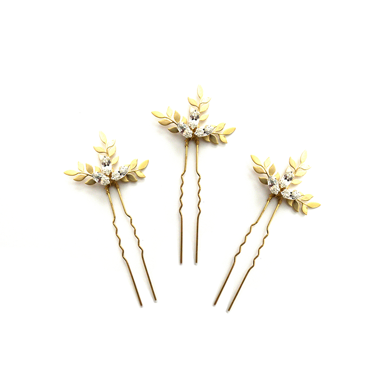 Crystal Barley gold bridal hair pins - set of three