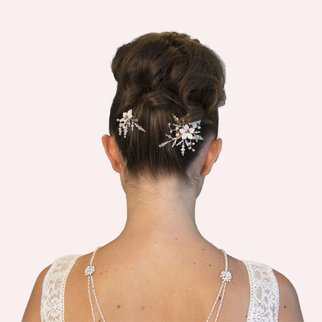 Rose Gold Dandridge flower wedding hair comb and hair pin set