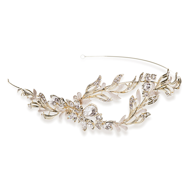 Farah gold and crystal bridal side headband