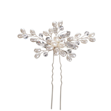 Flora pearl and crystal hair pins - set of 3