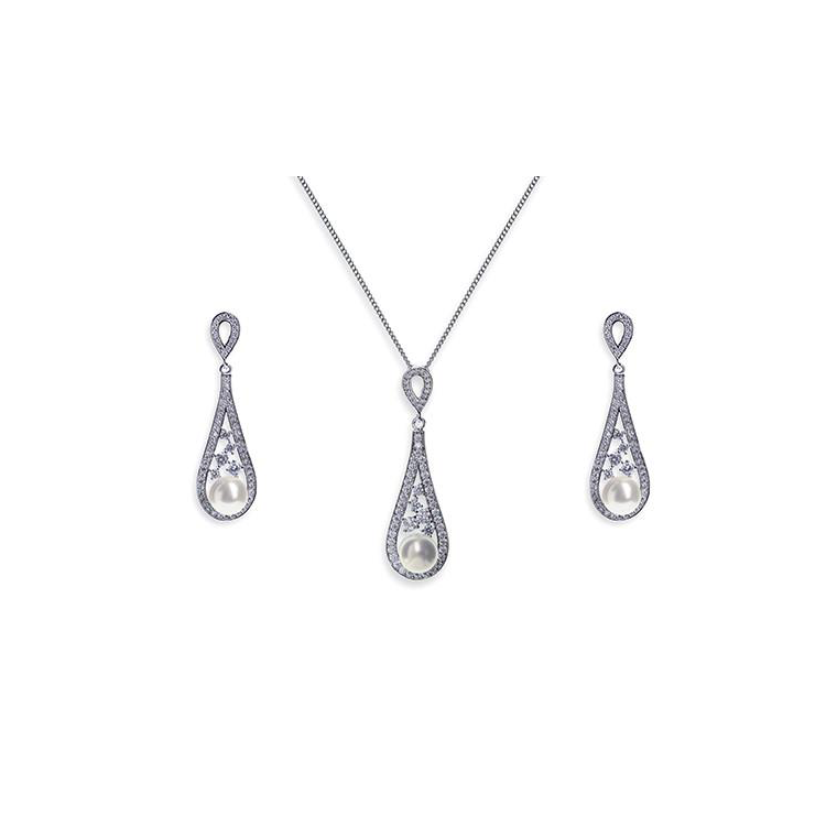 Fontaine bridal necklace and earring set