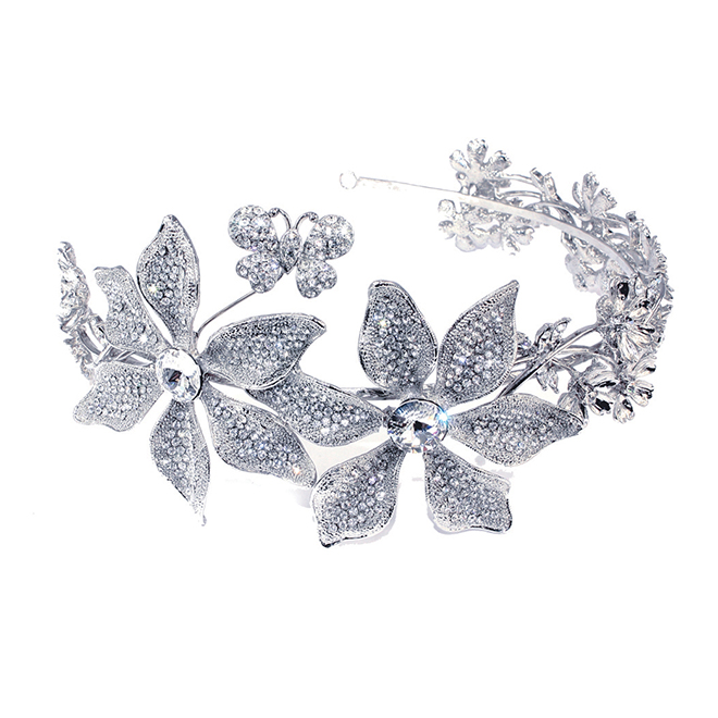Goddess flower crystal bridal side headband