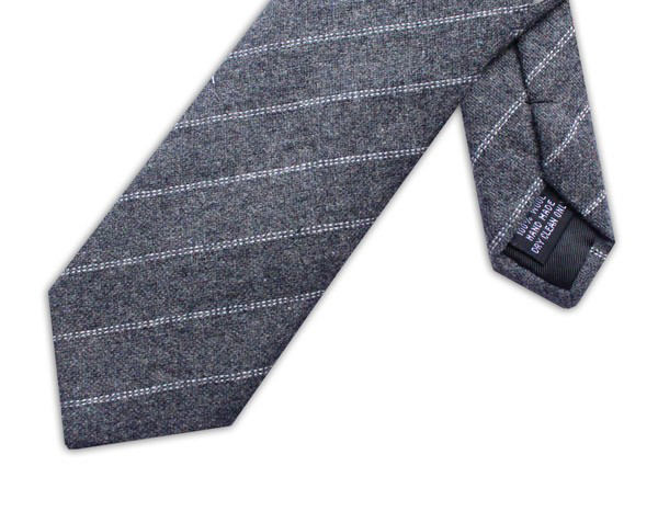 Wool necktie - Grey/white diagonal stripe