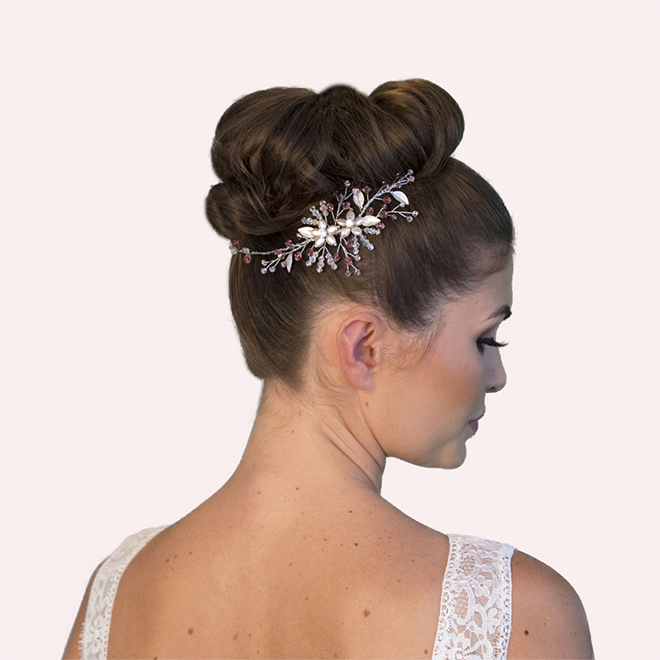 Havant Blush pink bridal hair vine
