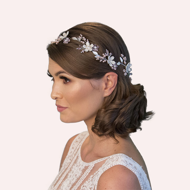 Hemmingway blush pink bridal hair vine