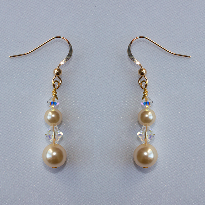 Monaghan gold and pearl wedding earrings