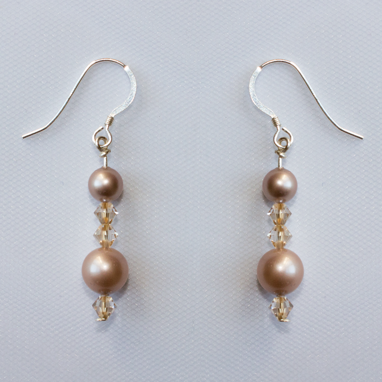 Shannon Blush pearl and crystal wedding earrings