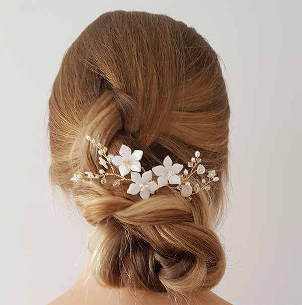 Clematis gold bridal hair pin