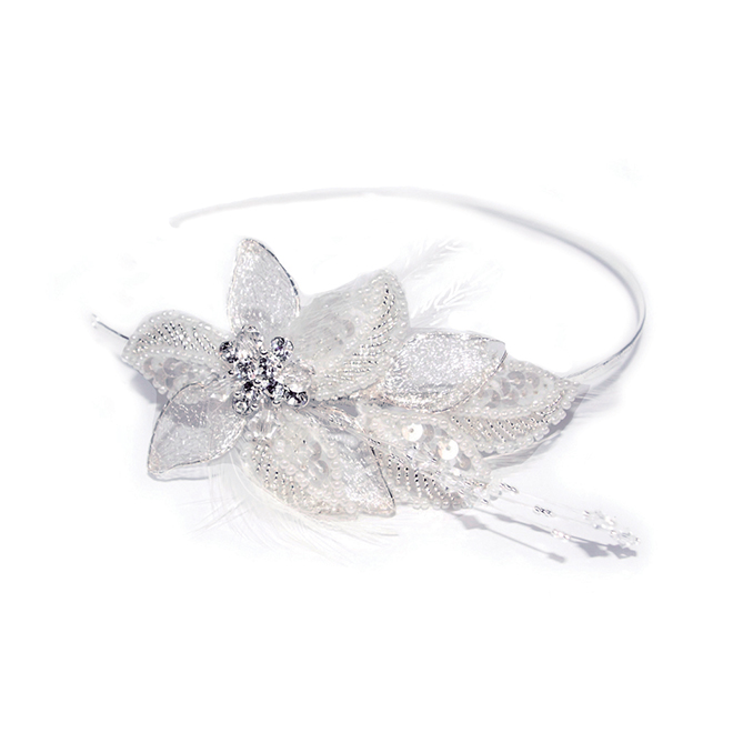 Lily floral silver feather and crystal headband